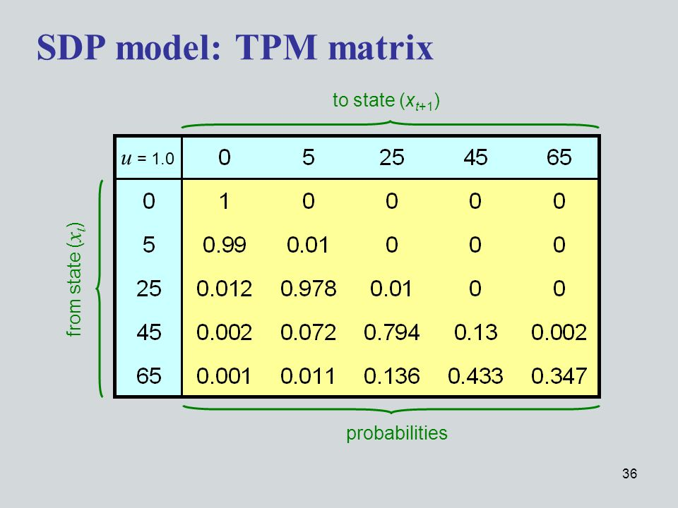 36 SDP model: TPM matrix u = 1.0 from state ( x t ) to state (x t+1 ) probabilities