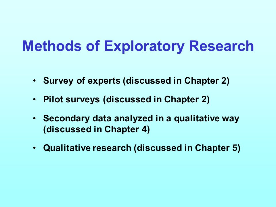Methods of Exploratory Research Survey of experts (discussed in Chapter 2) Pilot surveys (discussed in Chapter 2) Secondary data analyzed in a qualitative way (discussed in Chapter 4) Qualitative research (discussed in Chapter 5)