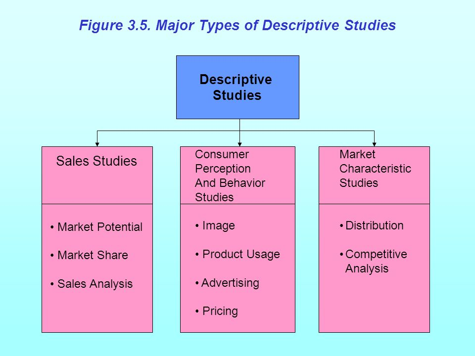 Figure 3.5. Major Types of Descriptive Studies Descriptive Studies Consumer Perception And Behavior Studies Image Product Usage Advertising Pricing Ma