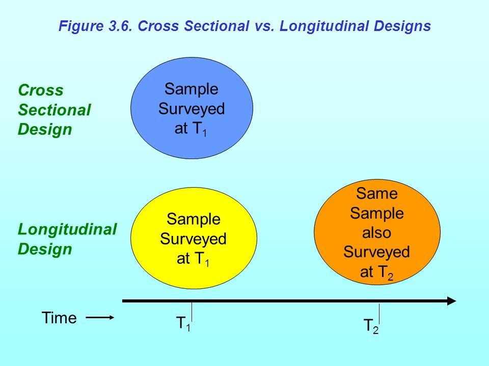 Sample Surveyed at T 1 Same Sample also Surveyed at T 2 T1T1 T2T2 Cross Sectional Design Longitudinal Design Time Figure 3.6. Cross Sectional vs. Long