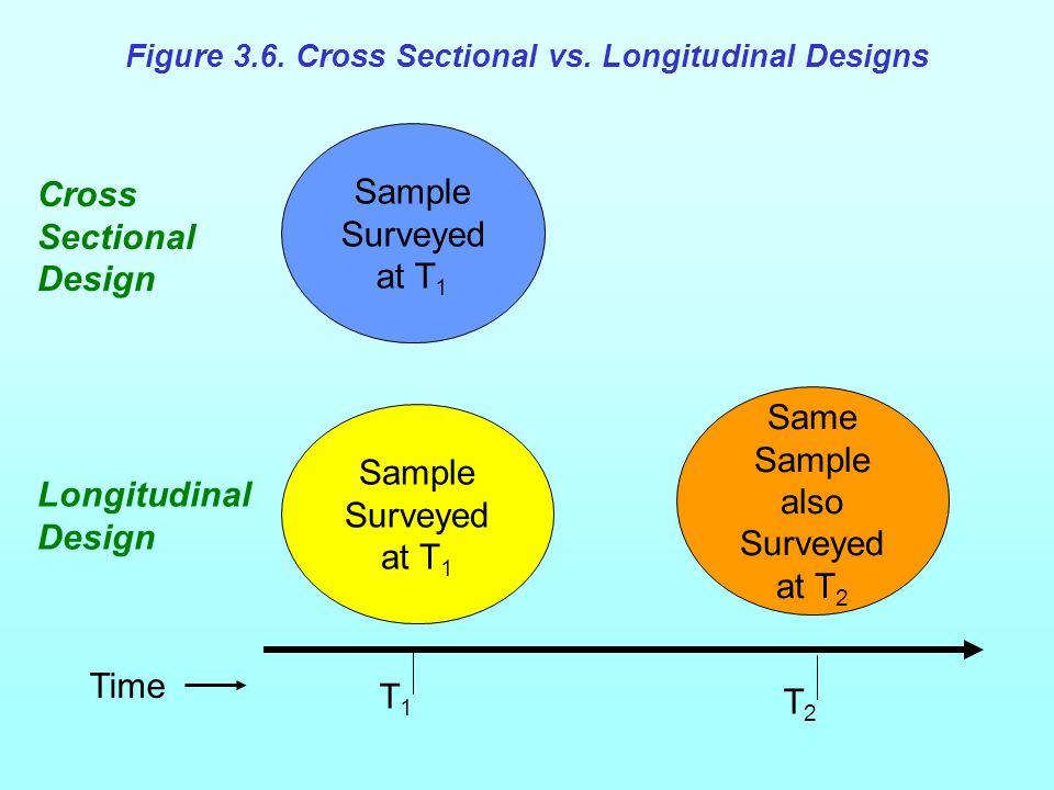 Sample Surveyed at T 1 Same Sample also Surveyed at T 2 T1T1 T2T2 Cross Sectional Design Longitudinal Design Time Figure 3.6.