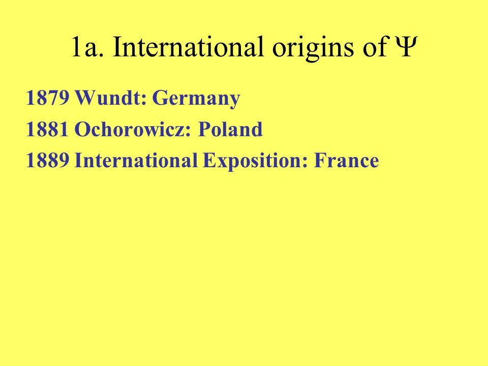 1a. International origins of 1879 Wundt: Germany 1881 Ochorowicz: Poland 1889 International Exposition: France