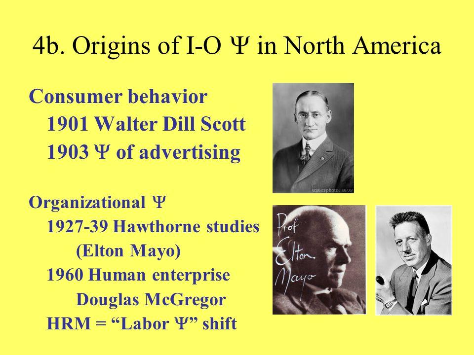 4b. Origins of I-O in North America Consumer behavior 1901 Walter Dill Scott 1903 of advertising Organizational 1927-39 Hawthorne studies (Elton Mayo)