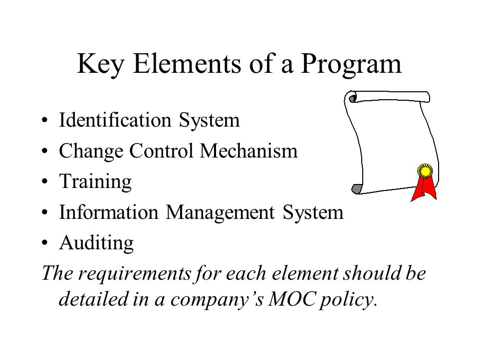 Key Elements of a Program Identification System Change Control Mechanism Training Information Management System Auditing The requirements for each element should be detailed in a companys MOC policy.