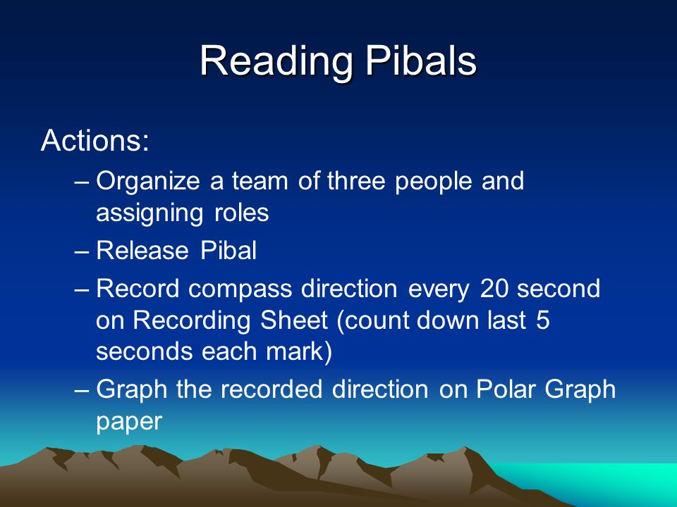 Reading Pibals Actions: –Organize a team of three people and assigning roles –Release Pibal –Record compass direction every 20 second on Recording Sheet (count down last 5 seconds each mark) –Graph the recorded direction on Polar Graph paper