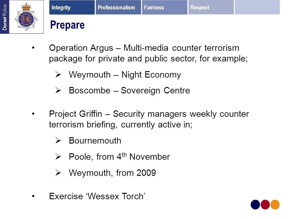 Prepare Operation Argus – Multi-media counter terrorism package for private and public sector, for example; Weymouth – Night Economy Boscombe – Sovereign Centre Project Griffin – Security managers weekly counter terrorism briefing, currently active in; Bournemouth Poole, from 4 th November Weymouth, from 2009 Exercise Wessex Torch IntegrityProfessionalismFairnessRespect