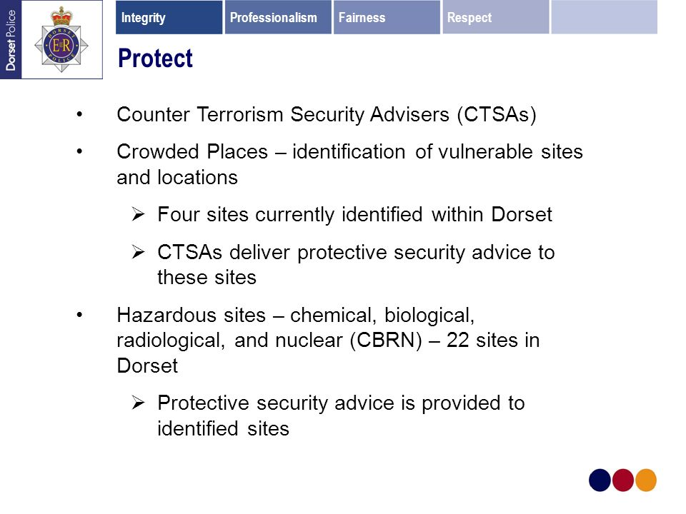Protect Counter Terrorism Security Advisers (CTSAs) Crowded Places – identification of vulnerable sites and locations Four sites currently identified within Dorset CTSAs deliver protective security advice to these sites Hazardous sites – chemical, biological, radiological, and nuclear (CBRN) – 22 sites in Dorset Protective security advice is provided to identified sites IntegrityProfessionalismFairnessRespect
