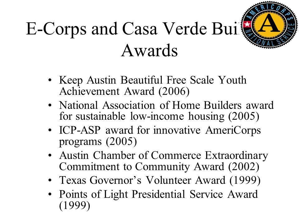 E-Corps and Casa Verde Builders Awards Keep Austin Beautiful Free Scale Youth Achievement Award (2006) National Association of Home Builders award for sustainable low-income housing (2005) ICP-ASP award for innovative AmeriCorps programs (2005) Austin Chamber of Commerce Extraordinary Commitment to Community Award (2002) Texas Governors Volunteer Award (1999) Points of Light Presidential Service Award (1999)