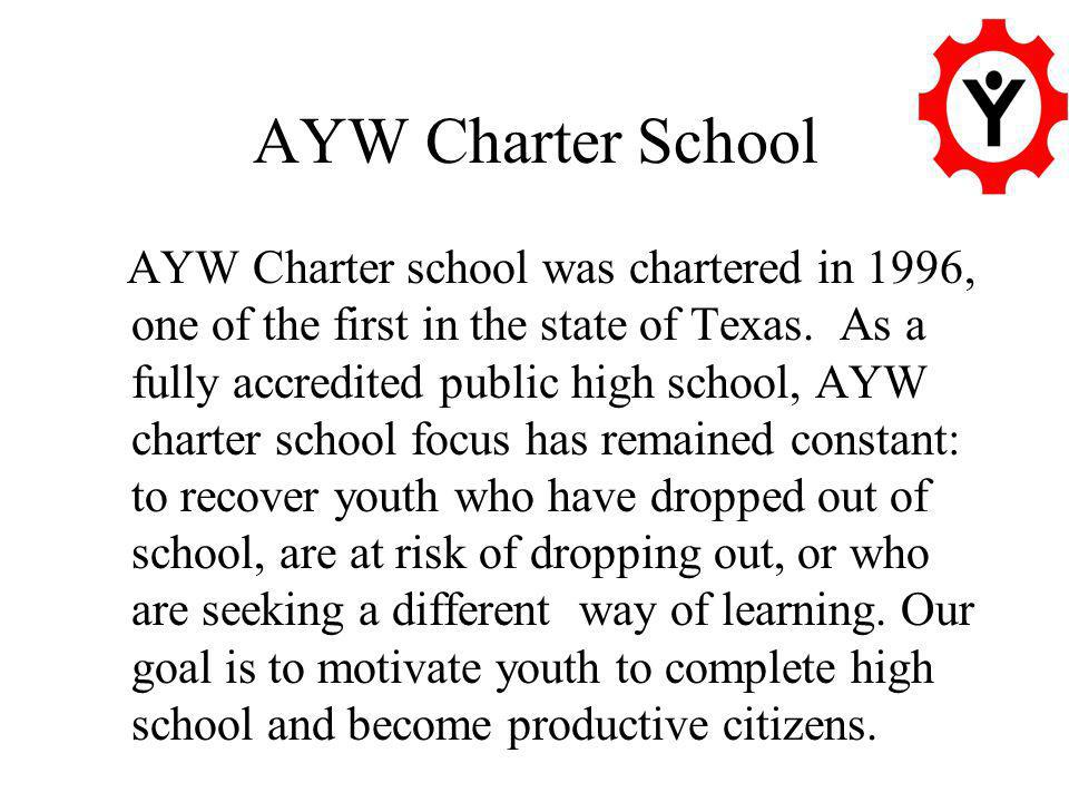 AYW Charter School AYW Charter school was chartered in 1996, one of the first in the state of Texas.