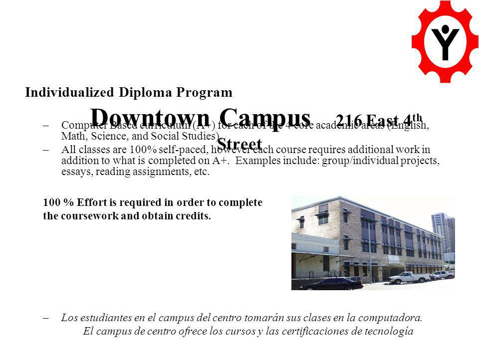 Downtown Campus 216 East 4 th Street Individualized Diploma Program –Computer Based curriculum (A+) for each of the 4 core academic areas (English, Math, Science, and Social Studies).