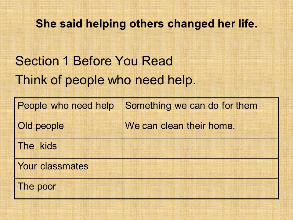 She said helping others changed her life.Section 1 Before You Read Think of people who need help.
