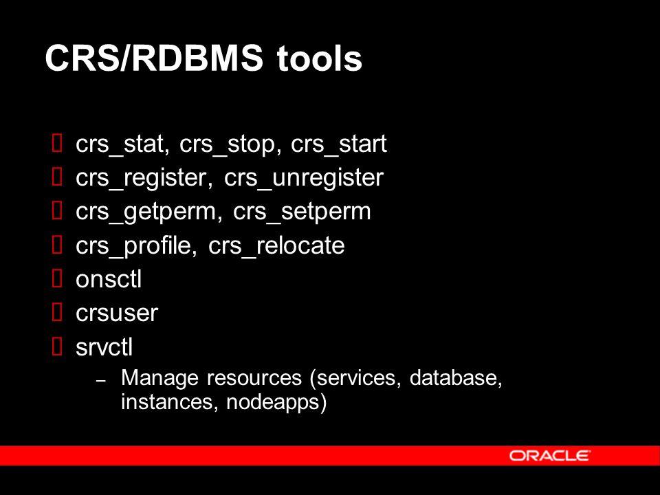 CRS/RDBMS tools crs_stat, crs_stop, crs_start crs_register, crs_unregister crs_getperm, crs_setperm crs_profile, crs_relocate onsctl crsuser srvctl – Manage resources (services, database, instances, nodeapps)