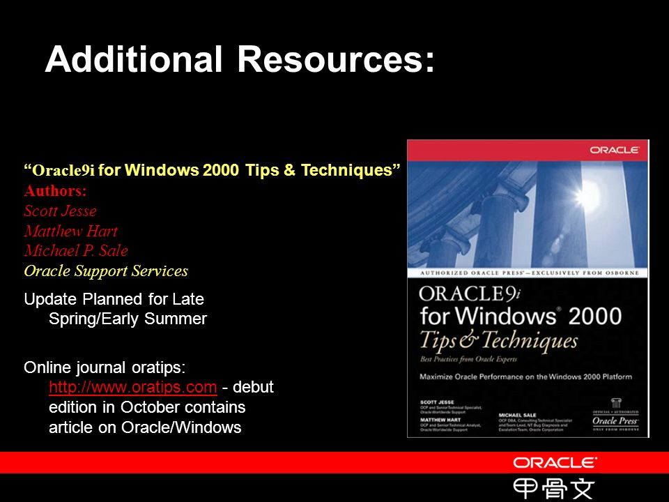 Oracle9i for Windows 2000 Tips & Techniques Authors: Scott Jesse Matthew Hart Michael P.