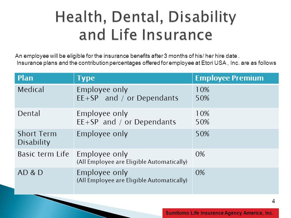 4 Sumitomo Life Insurance Agency America, Inc. PlanTypeEmployee Premium MedicalEmployee only EE+SP and / or Dependants 10% 50% DentalEmployee only EE+