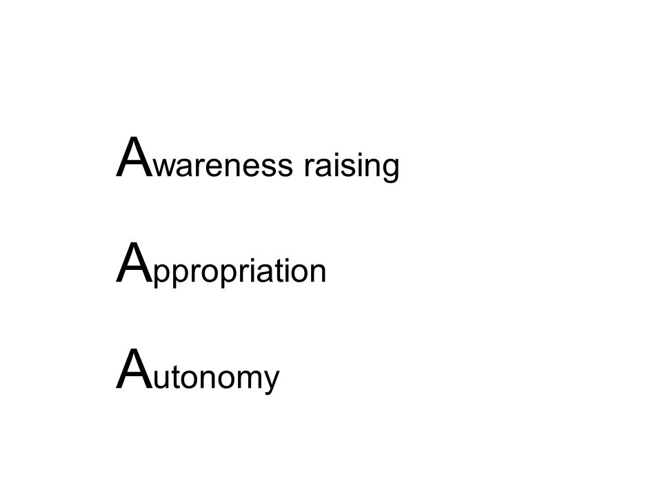 A wareness raising A ppropriation A utonomy