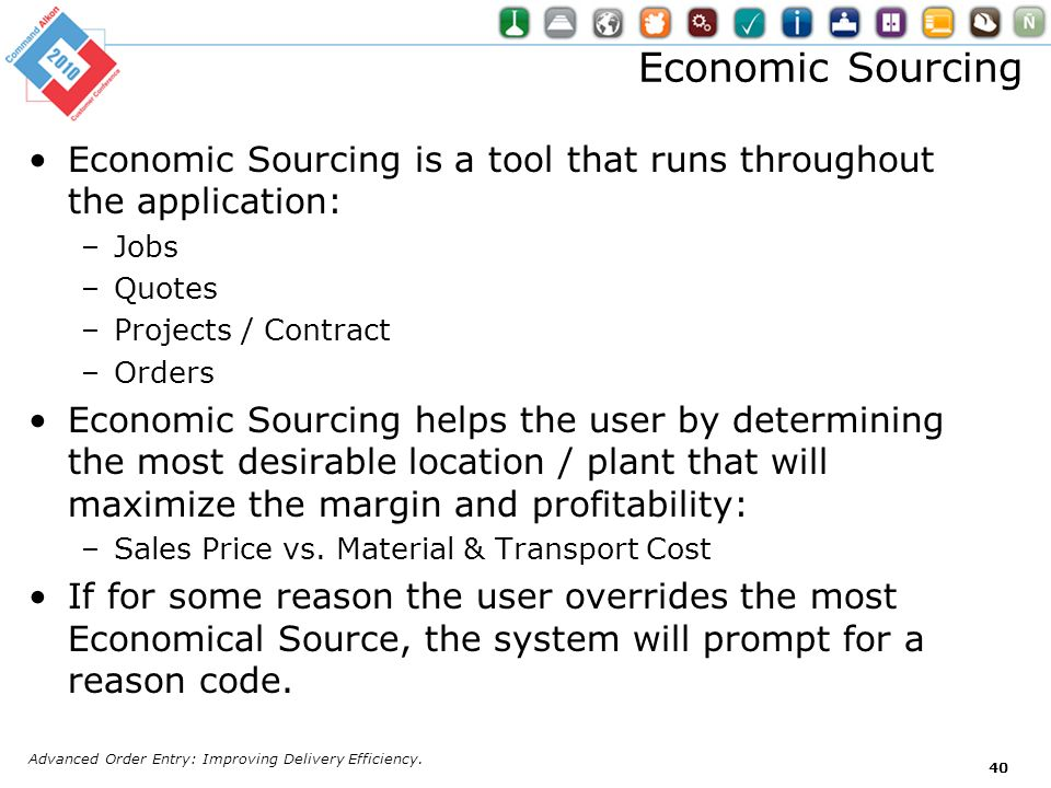Economic Sourcing is a tool that runs throughout the application: –Jobs –Quotes –Projects / Contract –Orders Economic Sourcing helps the user by deter