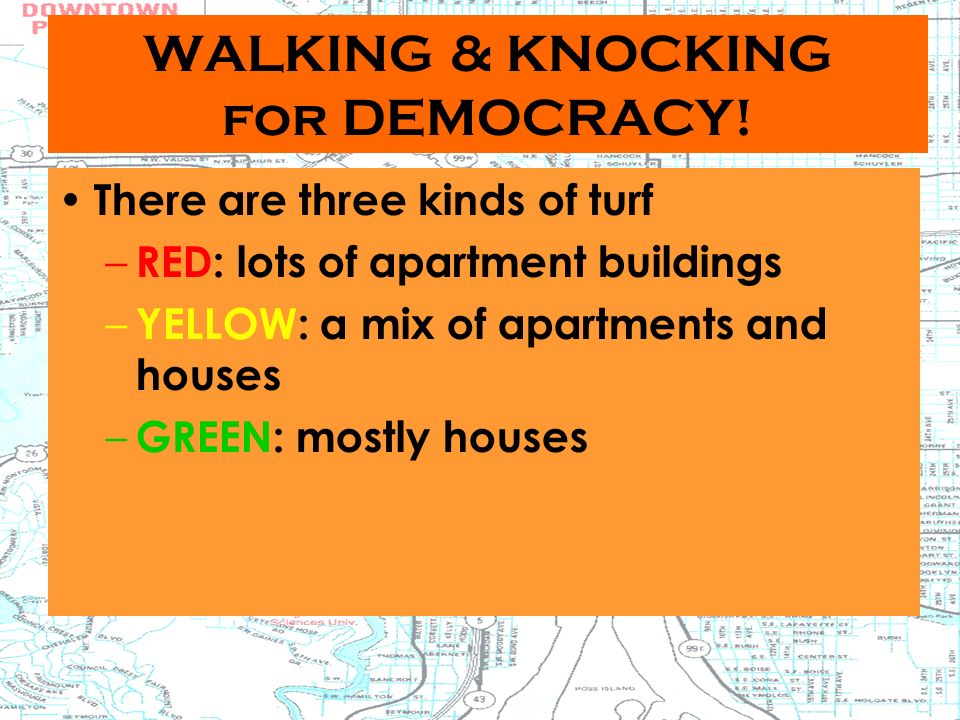 WALKING & KNOCKING for DEMOCRACY.