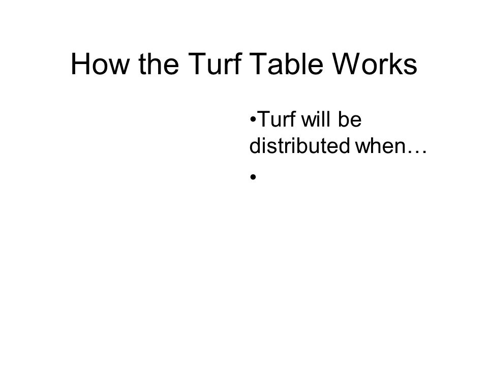 How the Turf Table Works Turf will be distributed when…