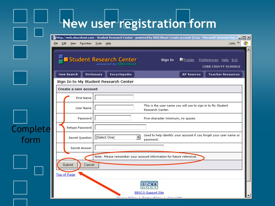 Complete form New user registration form