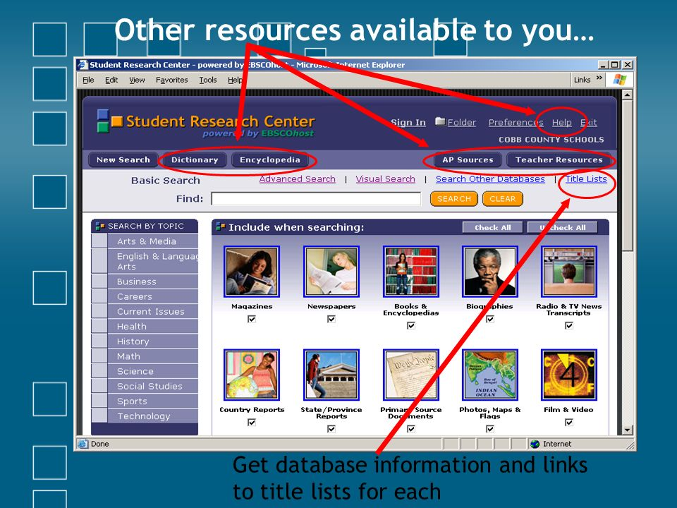 Other resources available to you… Get database information and links to title lists for each