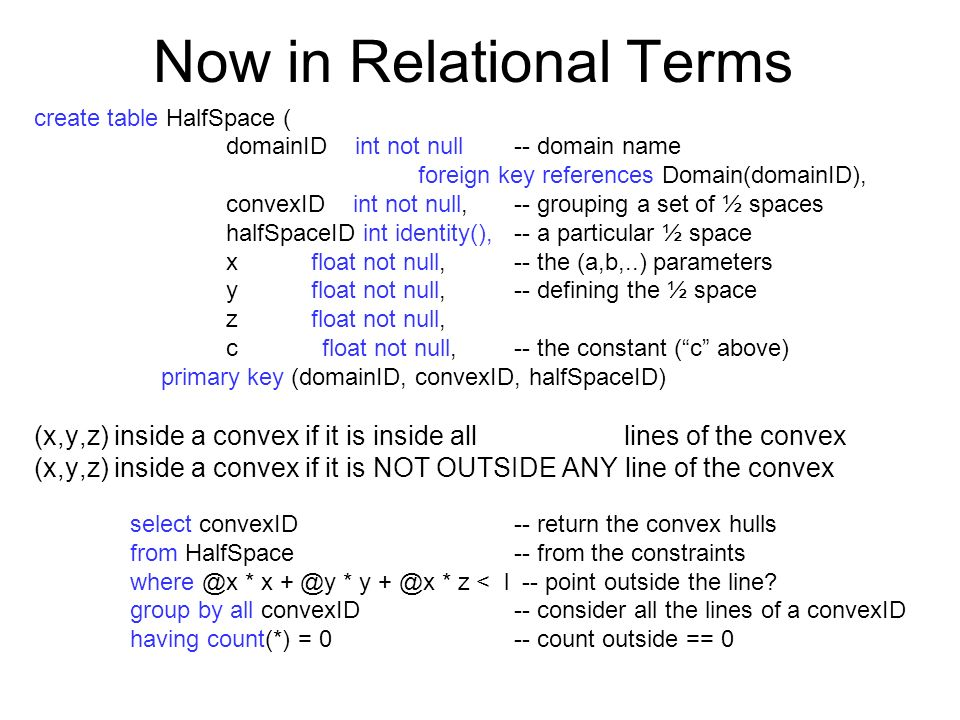 Now in Relational Terms create table HalfSpace ( domainID int not null -- domain name foreign key references Domain(domainID), convexID int not null,-- grouping a set of ½ spaces halfSpaceID int identity(),-- a particular ½ space x float not null, -- the (a,b,..) parameters y float not null, -- defining the ½ space z float not null, cfloat not null, -- the constant (c above) primary key (domainID, convexID, halfSpaceID) (x,y,z) inside a convex if it is inside all lines of the convex (x,y,z) inside a convex if it is NOT OUTSIDE ANY line of the convex select convexID-- return the convex hulls from HalfSpace-- from the constraints * x * y * z < l -- point outside the line.
