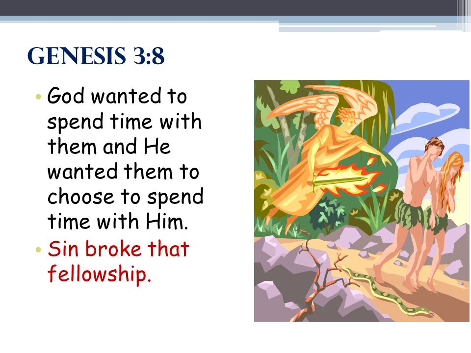 Genesis 3:8 God wanted to spend time with them and He wanted them to choose to spend time with Him. Sin broke that fellowship.