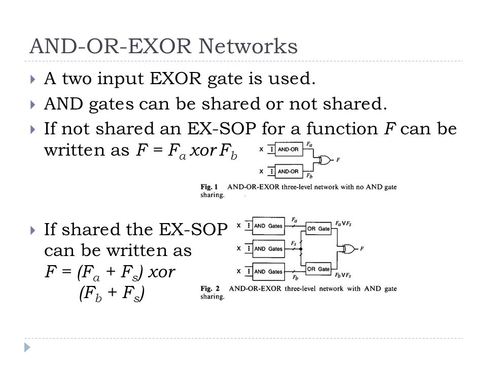 AND-OR-EXOR Networks A two input EXOR gate is used.