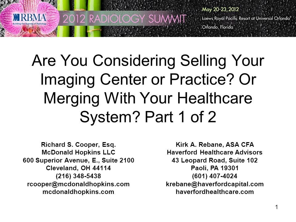 1 Are You Considering Selling Your Imaging Center or Practice.
