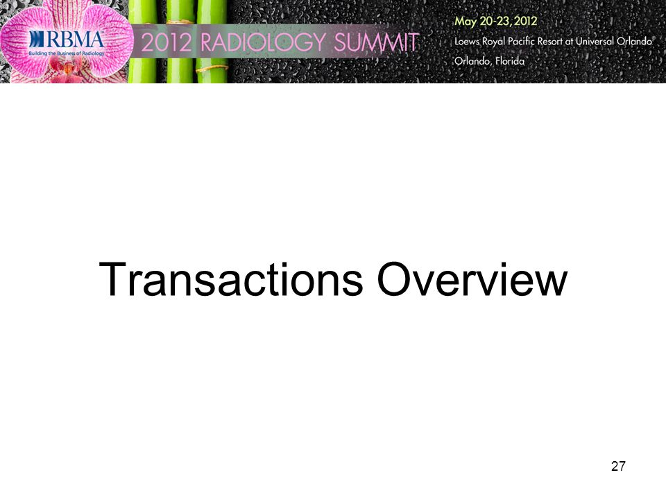 27 Transactions Overview