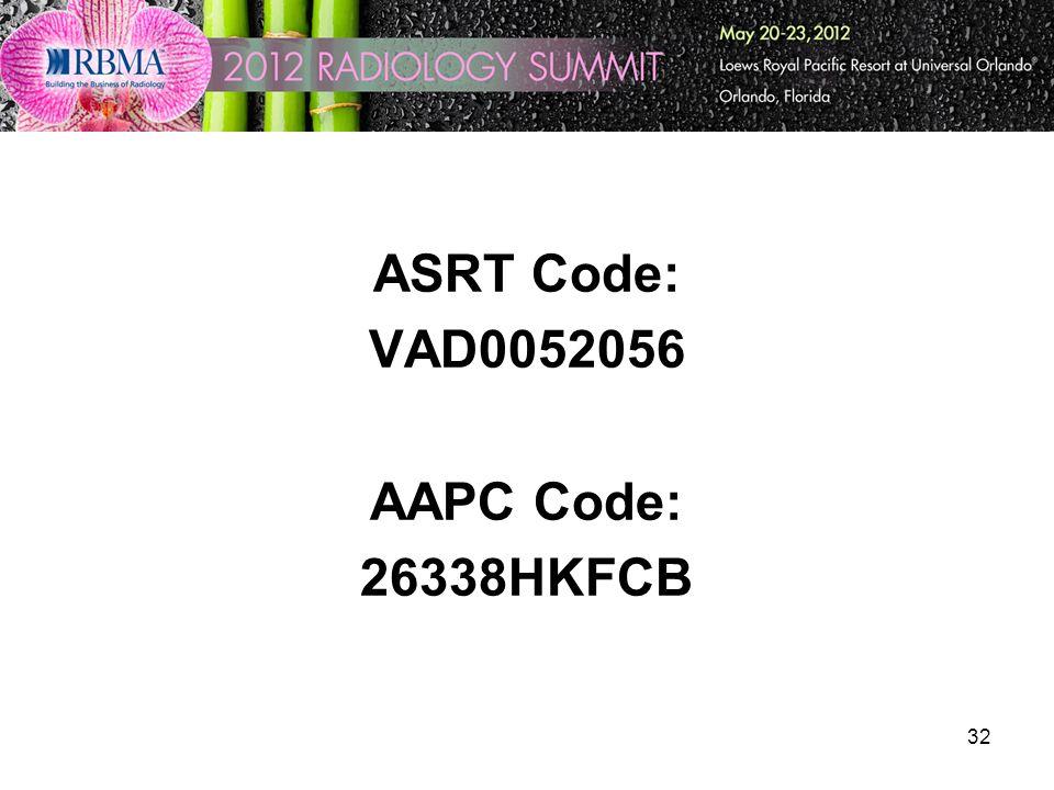 ASRT Code: VAD0052056 AAPC Code: 26338HKFCB 32