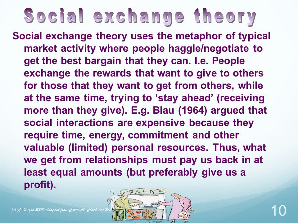 Social exchange theory uses the metaphor of typical market activity where people haggle/negotiate to get the best bargain that they can.