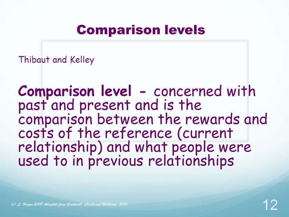 Comparison levels Thibaut and Kelley Comparison level - concerned with past and present and is the comparison between the rewards and costs of the reference (current relationship) and what people were used to in previous relationships (c) L.