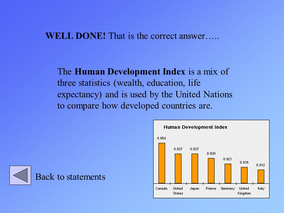 The Human Development Index is a mix of three statistics (wealth, education, life expectancy) and is used by the United Nations to compare how develop