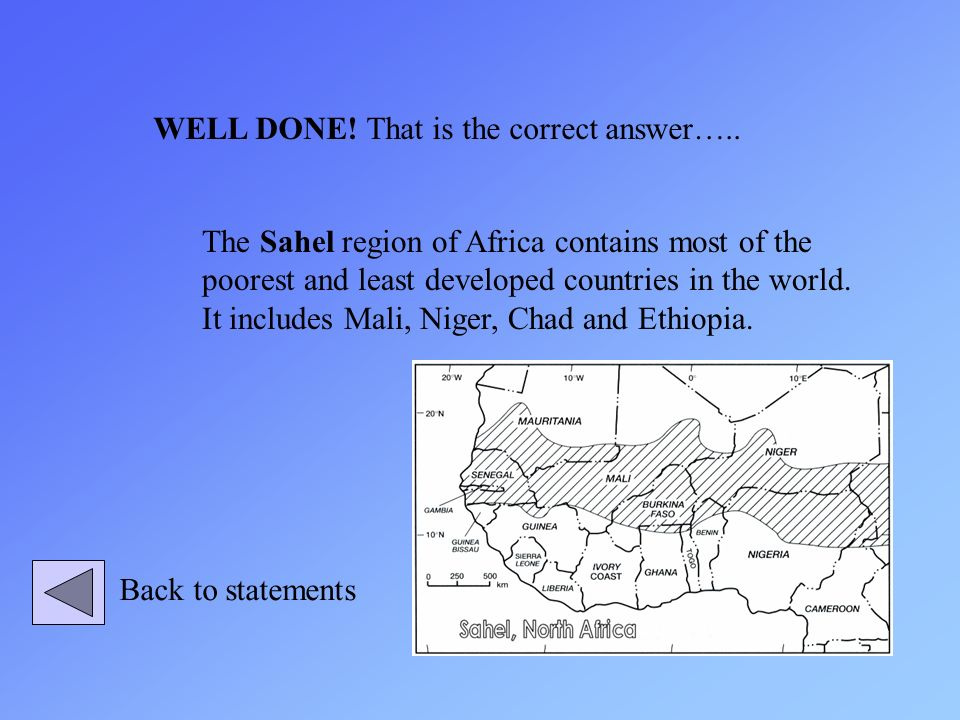 The Sahel region of Africa contains most of the poorest and least developed countries in the world. It includes Mali, Niger, Chad and Ethiopia. WELL D