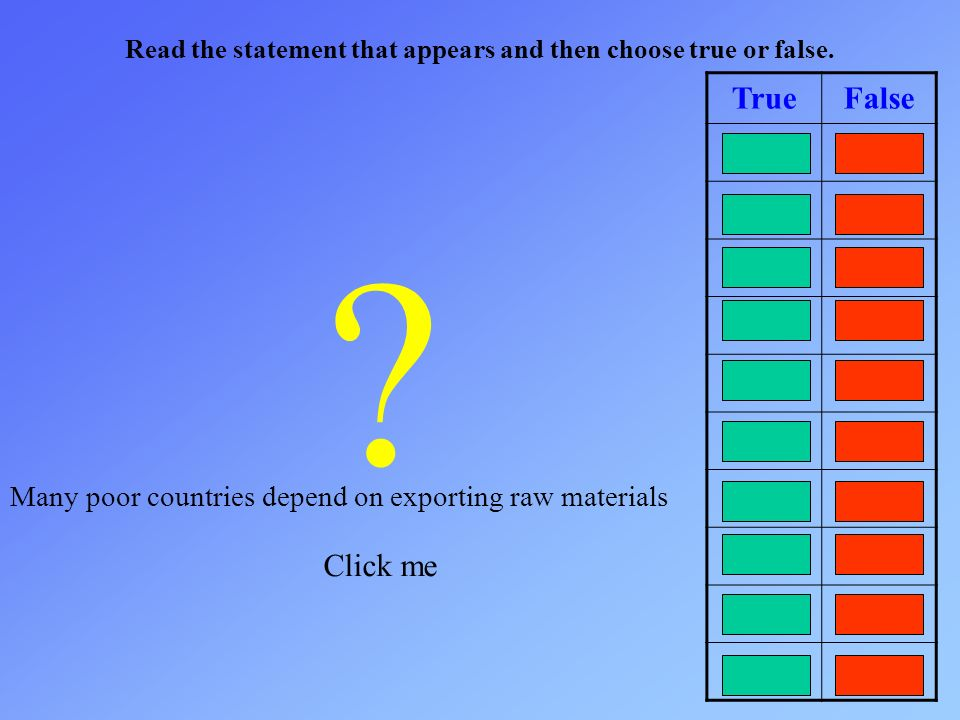Read the statement that appears and then choose true or false. TrueFalse ? Click me Many poor countries depend on exporting raw materials