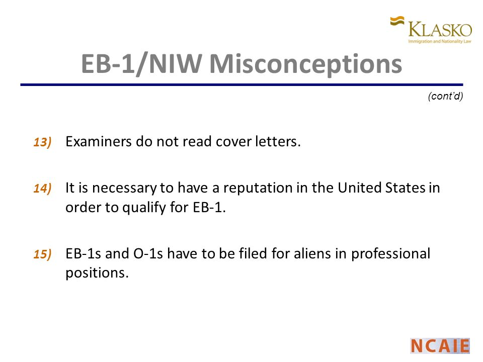 13) Examiners do not read cover letters.