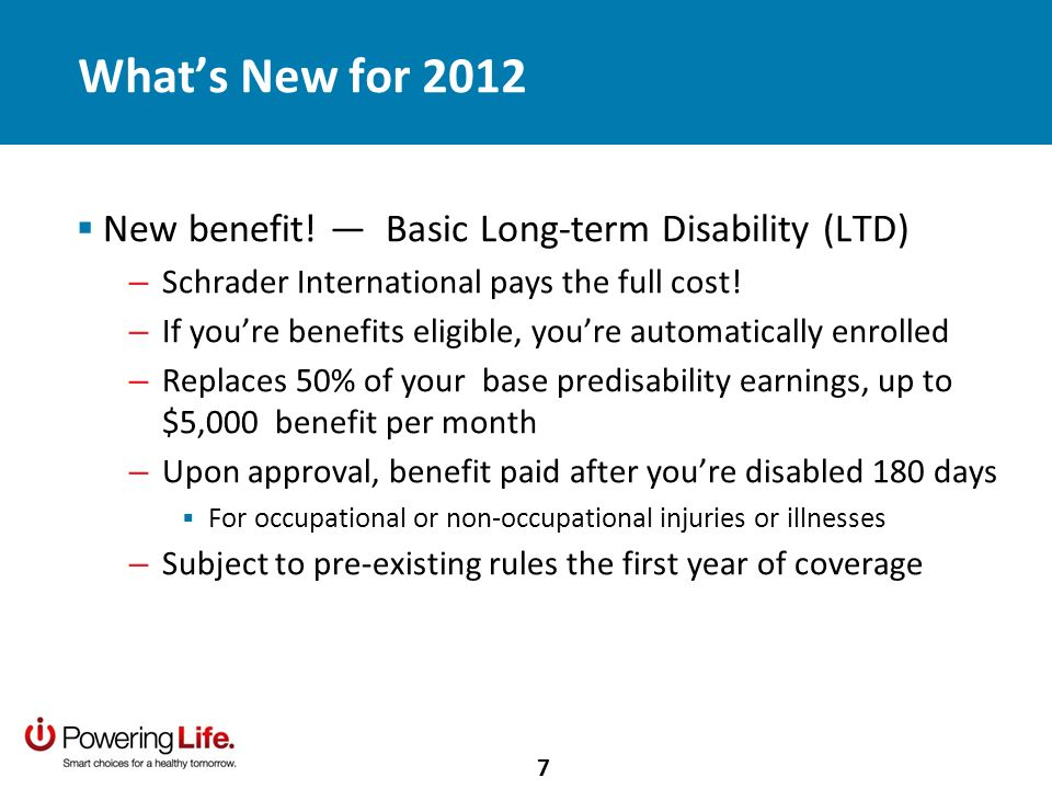Whats New for 2012 New benefit.