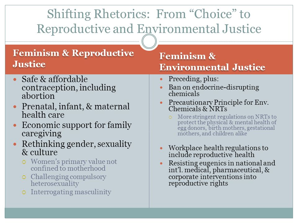 Feminism & Reproductive Justice Feminism & Environmental Justice Safe & affordable contraception, including abortion Prenatal, infant, & maternal health care Economic support for family caregiving Rethinking gender, sexuality & culture Womens primary value not confined to motherhood Challenging compulsory heterosexuality Interrogating masculinity Preceding, plus: Ban on endocrine-disrupting chemicals Precautionary Principle for Env.