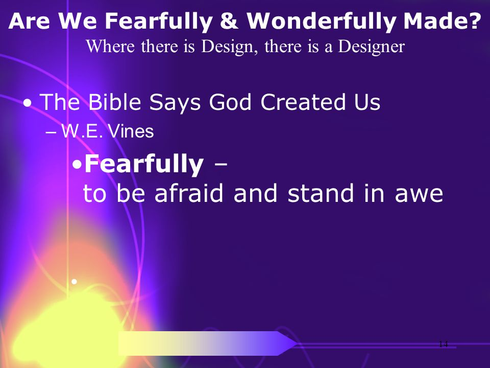 Are We Fearfully & Wonderfully Made? Where there is Design, there is a Designer The Bible Says God Created Us –W.E. Vines Fearfully – to be afraid and