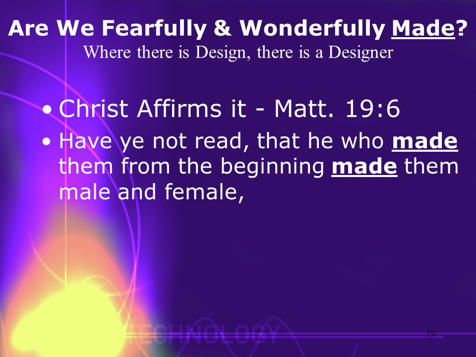 Are We Fearfully & Wonderfully Made? Where there is Design, there is a Designer Christ Affirms it - Matt. 19:6 Have ye not read, that he who made them