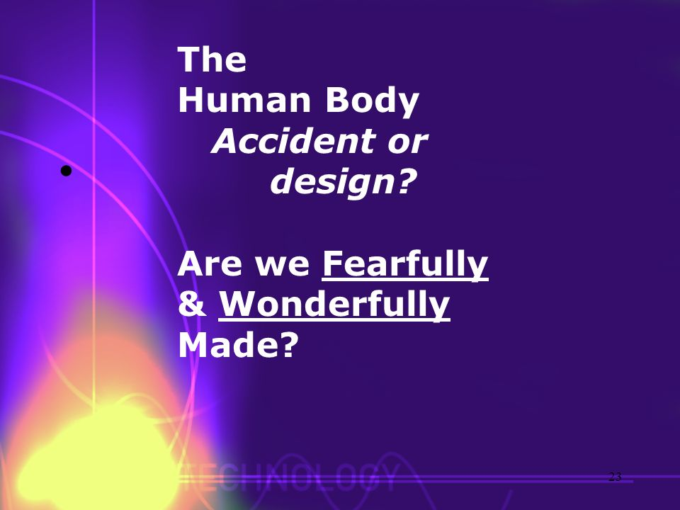 The Human Body Accident or design? Are we Fearfully & Wonderfully Made? 23
