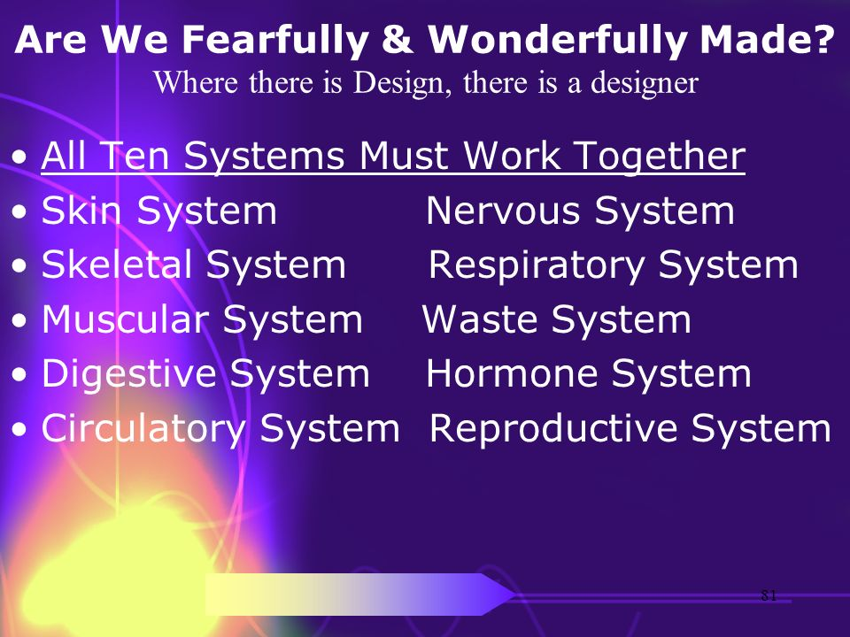 Are We Fearfully & Wonderfully Made? Where there is Design, there is a designer All Ten Systems Must Work Together Skin System Nervous System Skeletal