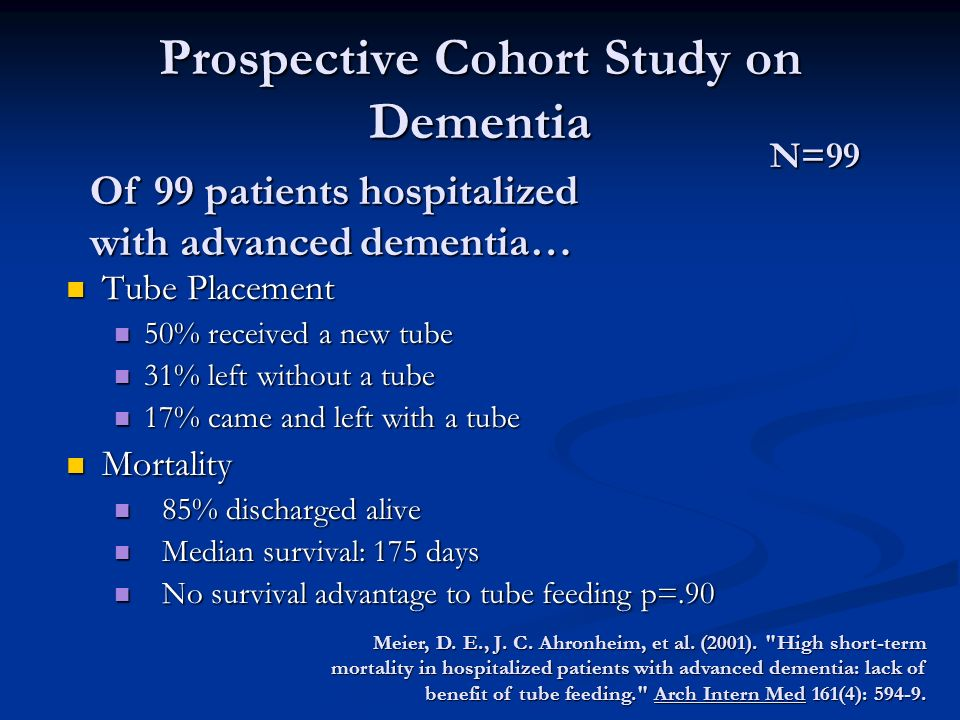 Prospective Cohort Study on Dementia Tube Placement Tube Placement 50% received a new tube 50% received a new tube 31% left without a tube 31% left without a tube 17% came and left with a tube 17% came and left with a tube Mortality Mortality 85% discharged alive 85% discharged alive Median survival: 175 days Median survival: 175 days No survival advantage to tube feeding p=.90 No survival advantage to tube feeding p=.90 Meier, D.