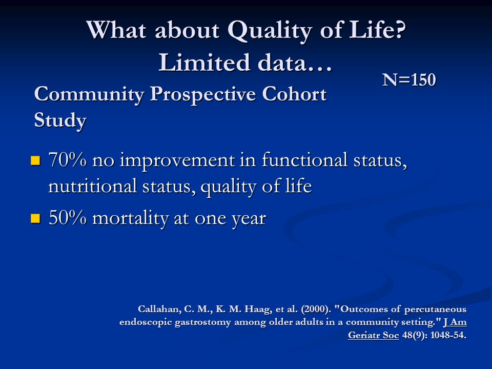 What about Quality of Life.