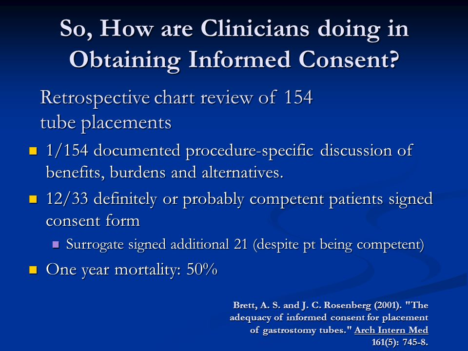 So, How are Clinicians doing in Obtaining Informed Consent.
