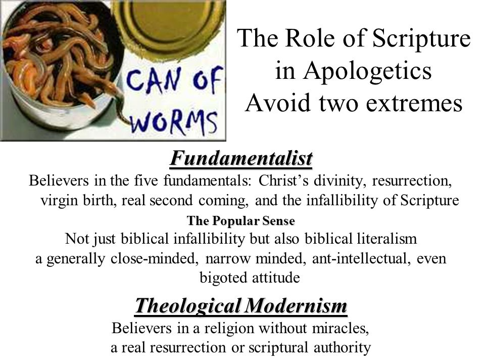 The Role of Scripture in Apologetics Avoid two extremesFundamentalist Believers in the five fundamentals: Christs divinity, resurrection, virgin birth
