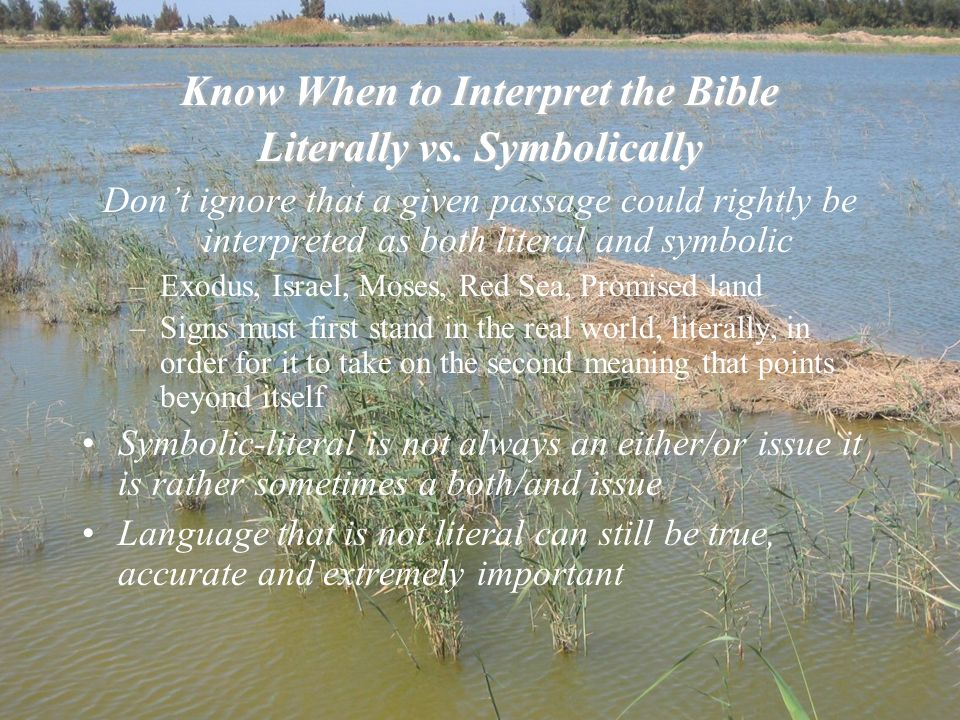 Know When to Interpret the Bible Literally vs. Symbolically Dont ignore that a given passage could rightly be interpreted as both literal and symbolic