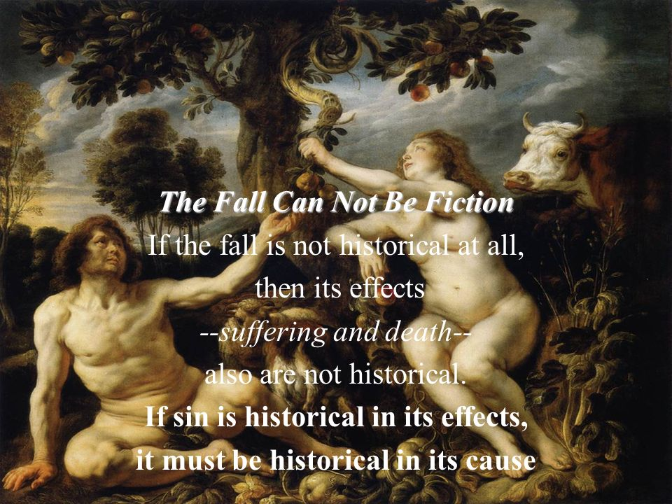 The Fall Can Not Be Fiction If the fall is not historical at all, then its effects --suffering and death-- also are not historical. If sin is historic