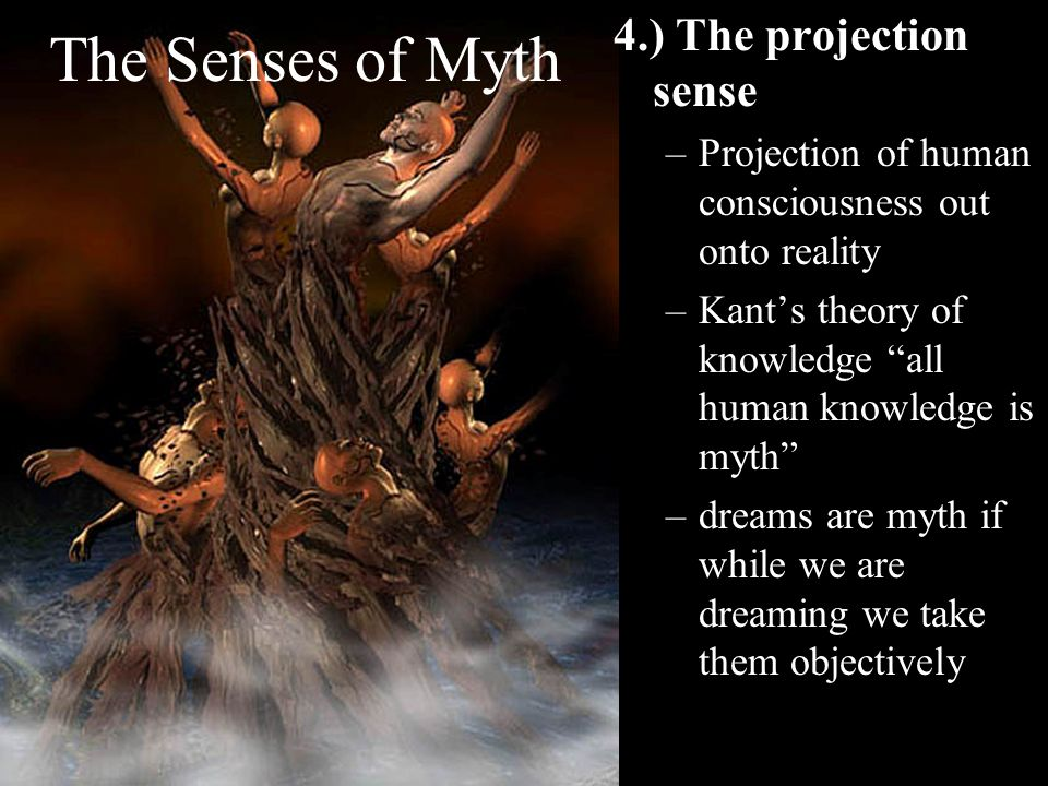 The Senses of Myth 4.) The projection sense –Projection of human consciousness out onto reality –Kants theory of knowledge all human knowledge is myth