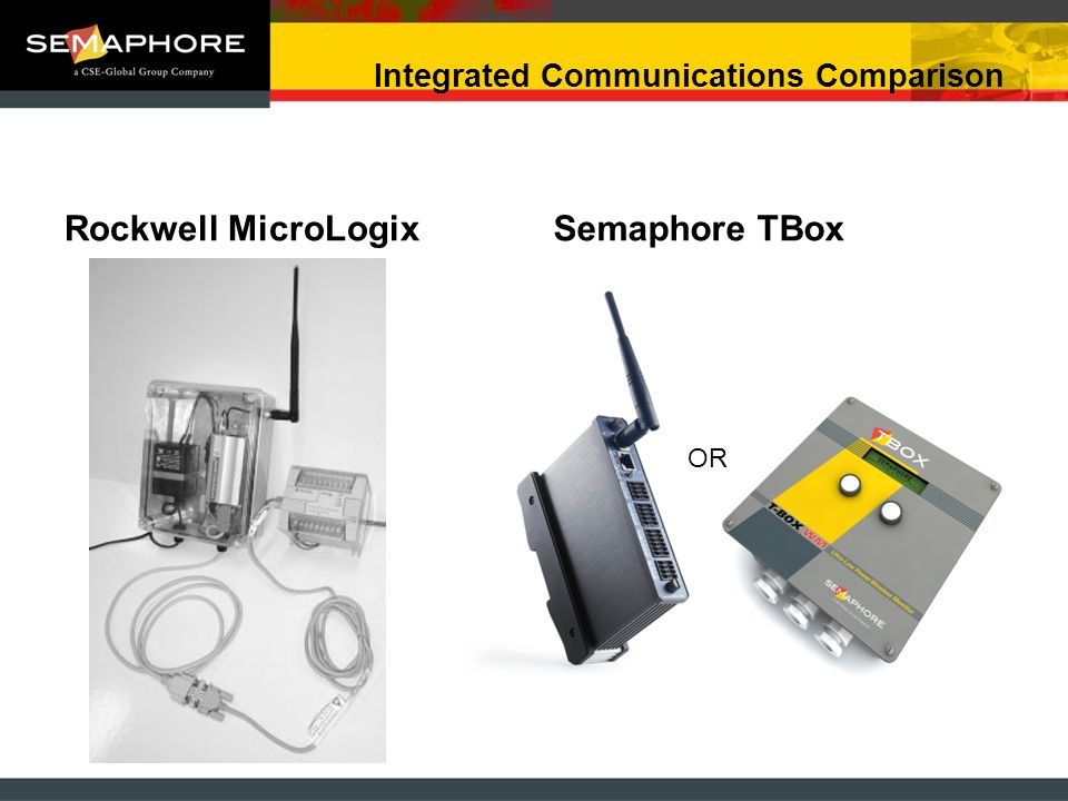 Integrated Communications Comparison Rockwell MicroLogixSemaphore TBox OR